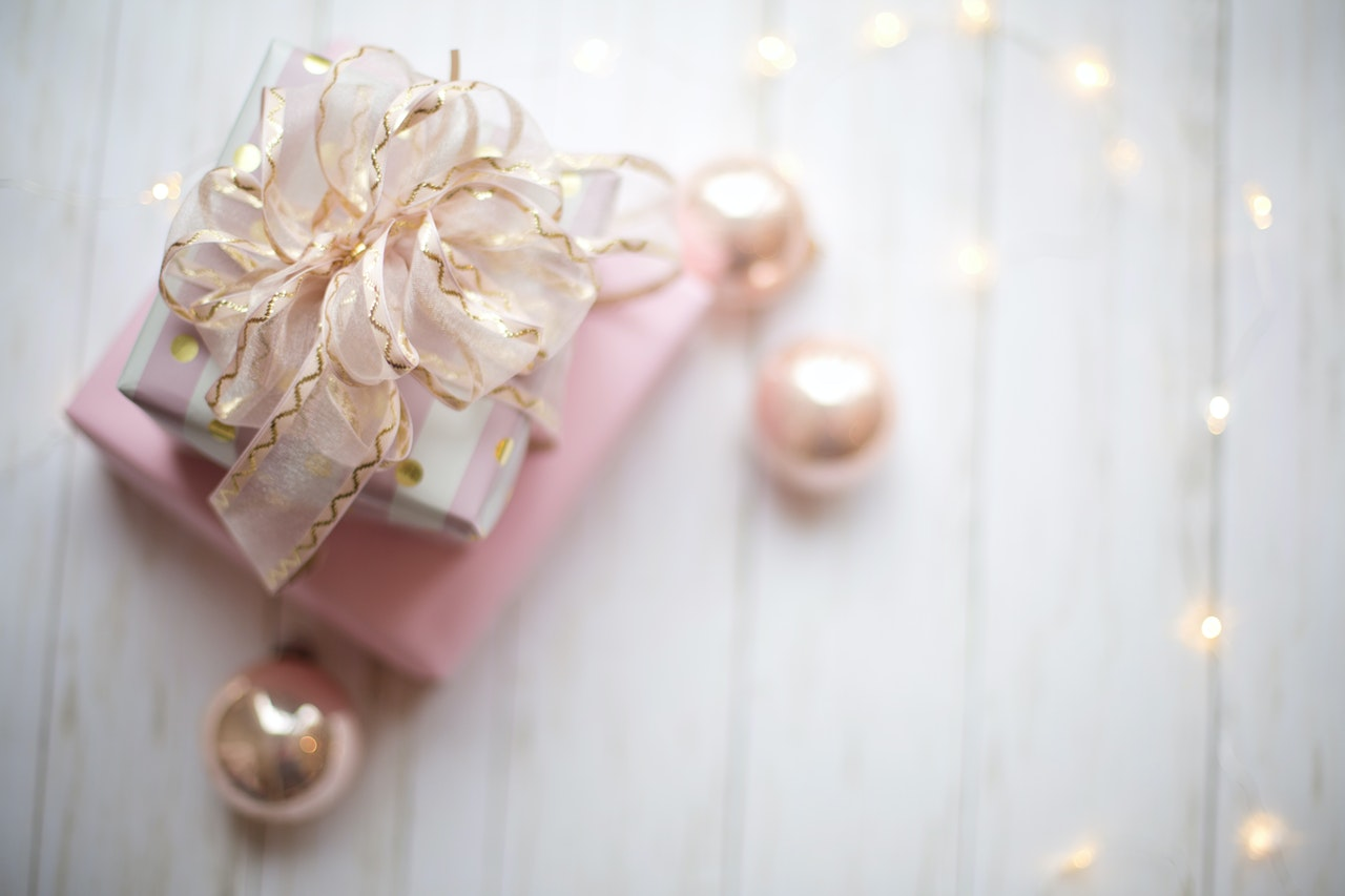 Pink gift with gold bows